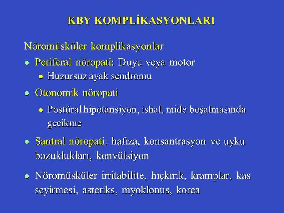 KBY KOMPLİKASYONLARI Nöromüsküler komplikasyonlar l Periferal nöropati: Duyu veya motor l Huzursuz ayak sendromu l Otonomik nöropati l Postüral hipota