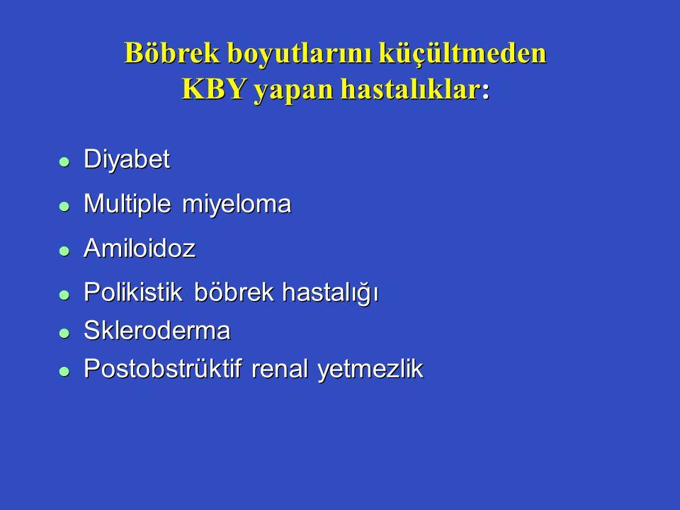 Böbrek boyutlarını küçültmeden KBY yapan hastalıklar: l Diyabet l Multiple miyeloma l Amiloidoz l Polikistik böbrek hastalığı l Skleroderma l Postobst
