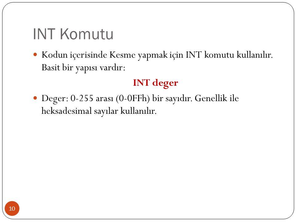INT Komutu 10  Kodun içerisinde Kesme yapmak için INT komutu kullanılır. Basit bir yapısı vardır: INT deger  Deger: 0-255 arası (0-0FFh) bir sayıdır