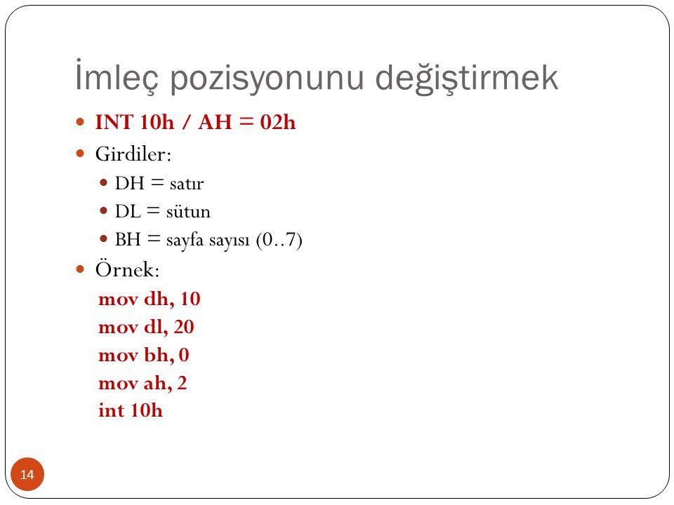 İmleç pozisyonunu değiştirmek 14  INT 10h / AH = 02h  Girdiler:  DH = satır  DL = sütun  BH = sayfa sayısı (0..7)  Örnek: mov dh, 10 mov dl, 20