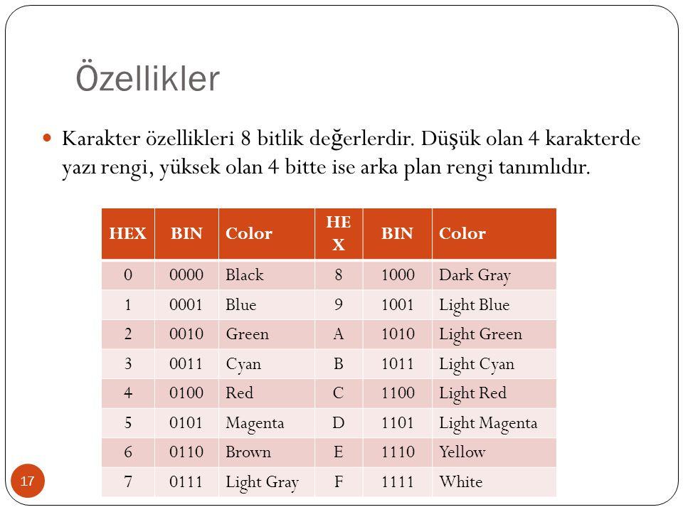Özellikler 17  Karakter özellikleri 8 bitlik de ğ erlerdir. Dü ş ük olan 4 karakterde yazı rengi, yüksek olan 4 bitte ise arka plan rengi tanımlıdır.