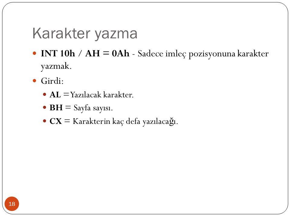 Karakter yazma 18  INT 10h / AH = 0Ah - Sadece imleç pozisyonuna karakter yazmak.  Girdi:  AL = Yazılacak karakter.  BH = Sayfa sayısı.  CX = Kar