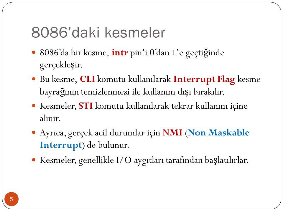 Karakter ve özellik yazma 16  INT 10h / AH = 09h - İ mleç pozisyonuna karakter ve özellik yazmak.