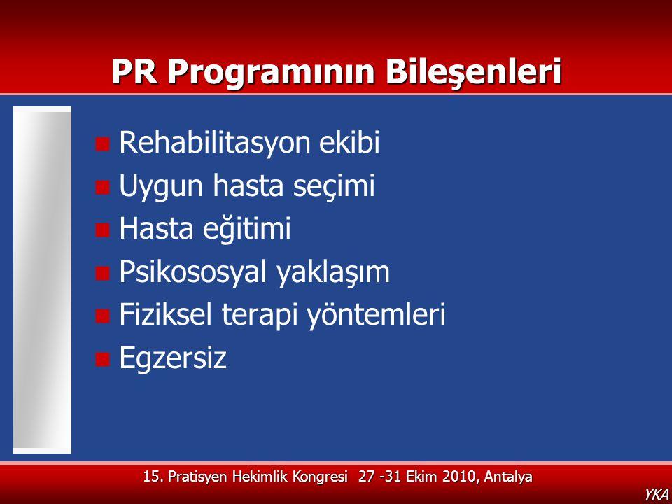 15. Pratisyen Hekimlik Kongresi 27 -31 Ekim 2010, Antalya YKA PR Programının Bileşenleri  Rehabilitasyon ekibi  Uygun hasta seçimi  Hasta eğitimi 