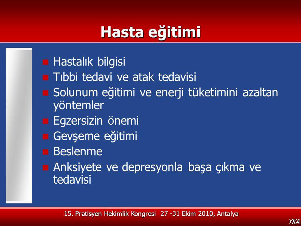 15. Pratisyen Hekimlik Kongresi 27 -31 Ekim 2010, Antalya YKA Hasta eğitimi  Hastalık bilgisi  Tıbbi tedavi ve atak tedavisi  Solunum eğitimi ve en
