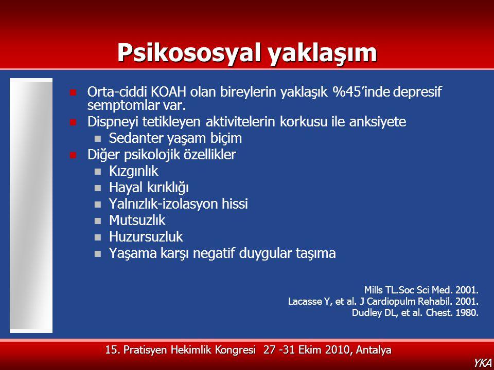 15. Pratisyen Hekimlik Kongresi 27 -31 Ekim 2010, Antalya YKA Psikososyal yaklaşım  Orta-ciddi KOAH olan bireylerin yaklaşık %45'inde depresif sempto