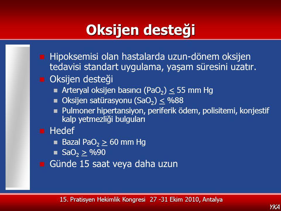 15. Pratisyen Hekimlik Kongresi 27 -31 Ekim 2010, Antalya YKA Oksijen desteği  Hipoksemisi olan hastalarda uzun-dönem oksijen tedavisi standart uygul