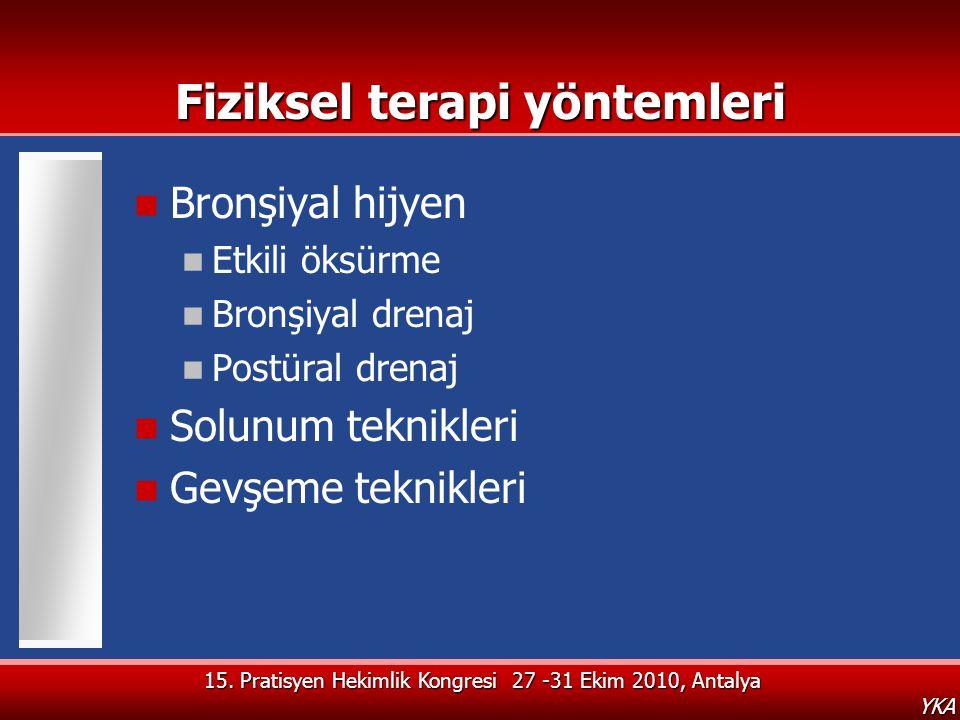 15. Pratisyen Hekimlik Kongresi 27 -31 Ekim 2010, Antalya YKA Fiziksel terapi yöntemleri  Bronşiyal hijyen  Etkili öksürme  Bronşiyal drenaj  Post