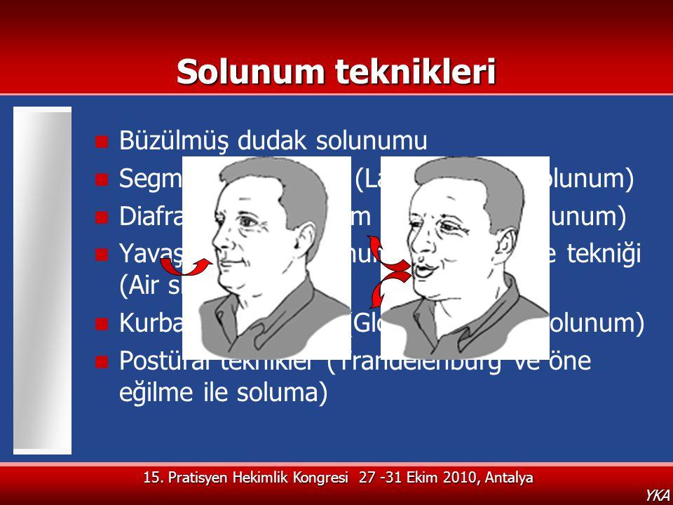 YKA Solunum teknikleri  Büzülmüş dudak solunumu  Segmental solunum (Lateral kostal solunum)  Diafragmatik solunum (Abdominal solunum)  Yavaş ve de