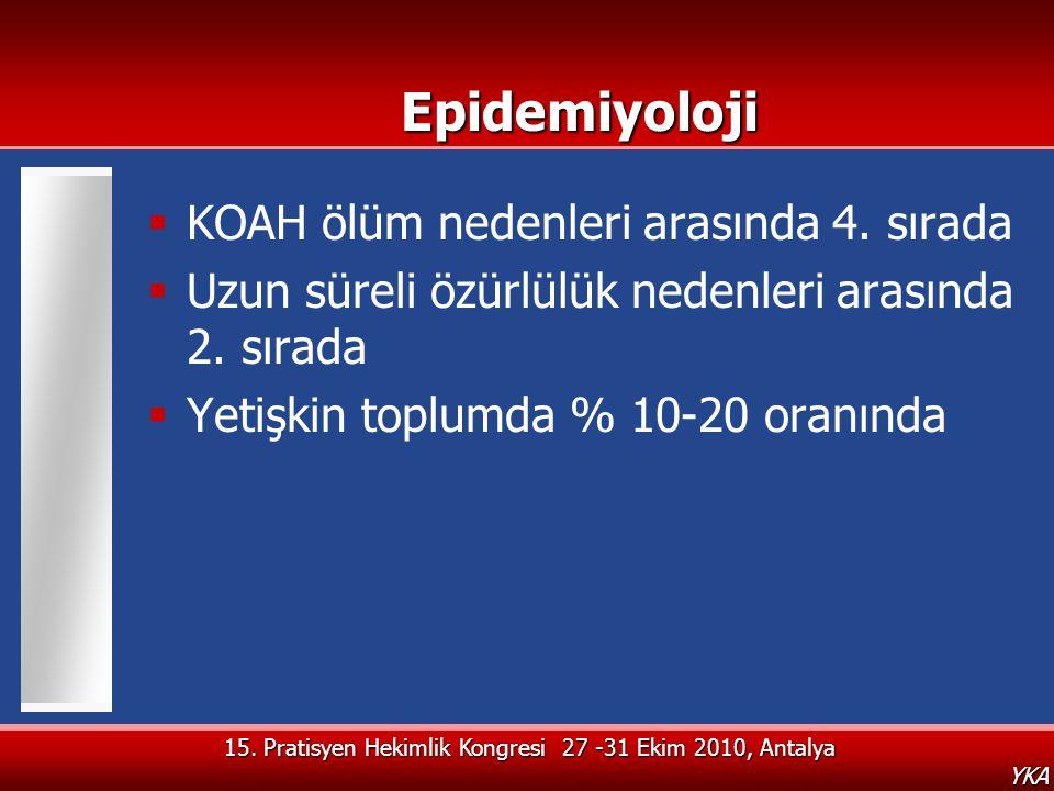 15. Pratisyen Hekimlik Kongresi 27 -31 Ekim 2010, Antalya YKAEpidemiyoloji  KOAH ölüm nedenleri arasında 4. sırada  Uzun süreli özürlülük nedenleri
