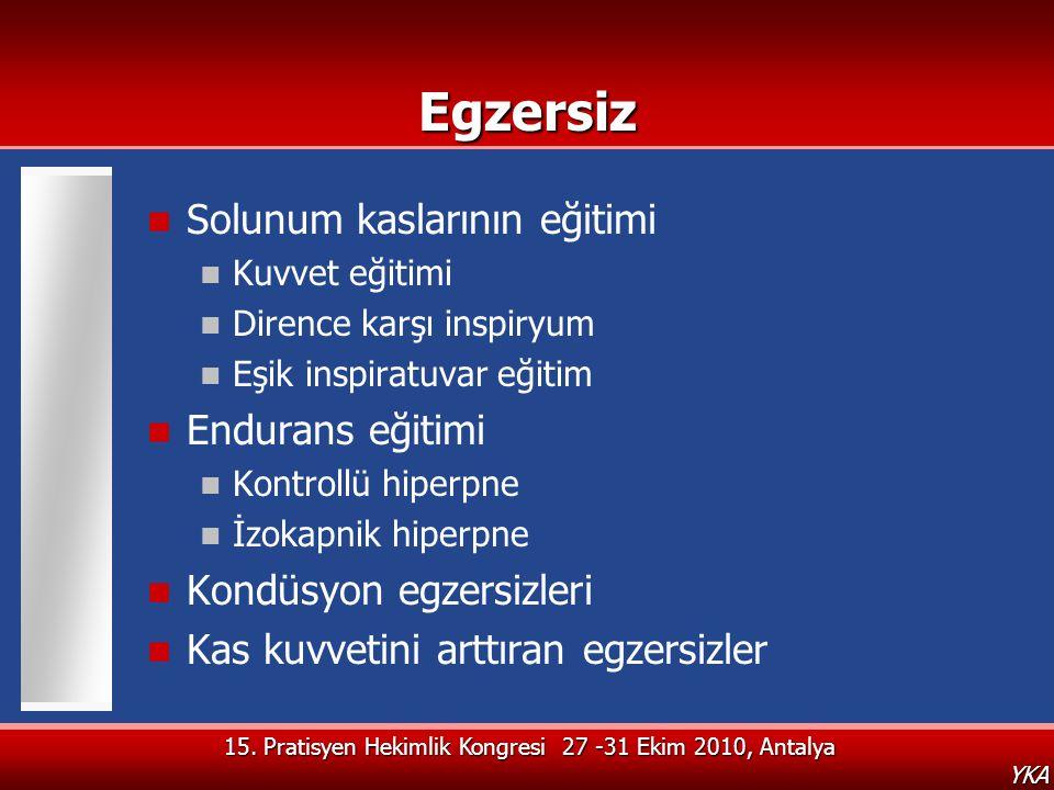 15. Pratisyen Hekimlik Kongresi 27 -31 Ekim 2010, Antalya YKAEgzersiz  Solunum kaslarının eğitimi  Kuvvet eğitimi  Dirence karşı inspiryum  Eşik i