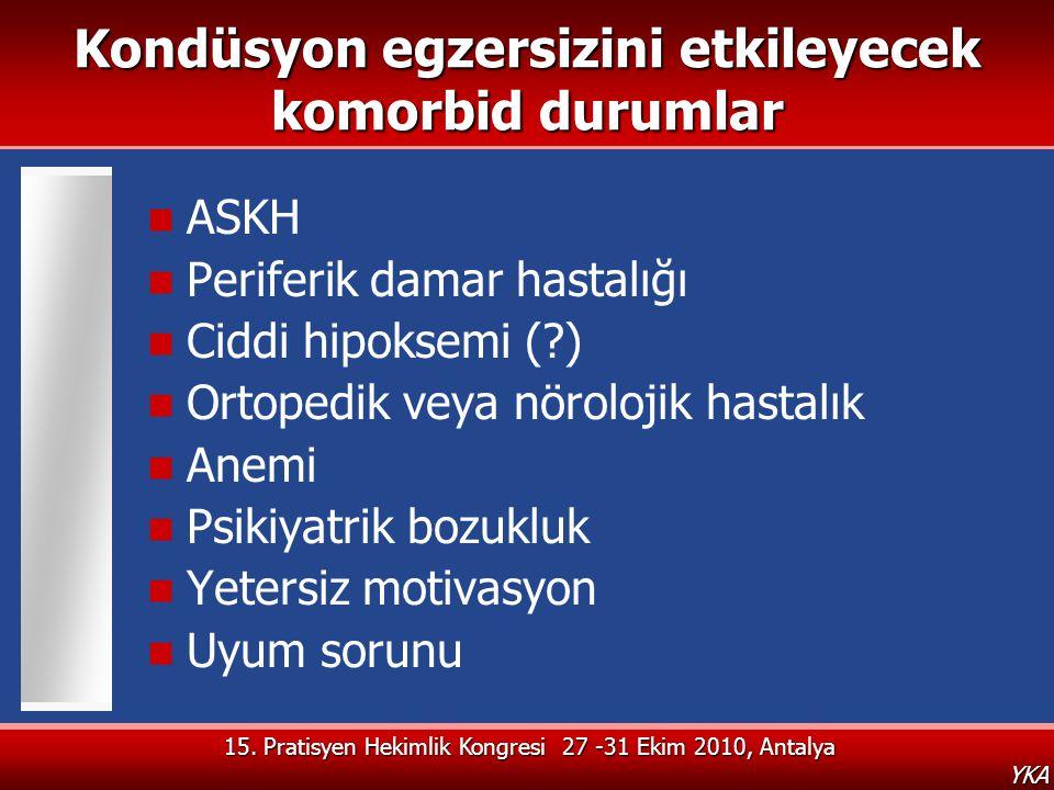 15. Pratisyen Hekimlik Kongresi 27 -31 Ekim 2010, Antalya YKA Kondüsyon egzersizini etkileyecek komorbid durumlar  ASKH  Periferik damar hastalığı 