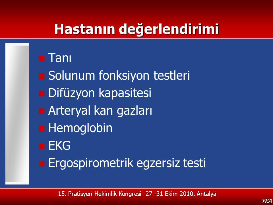 15. Pratisyen Hekimlik Kongresi 27 -31 Ekim 2010, Antalya YKA Hastanın değerlendirimi  Tanı  Solunum fonksiyon testleri  Difüzyon kapasitesi  Arte
