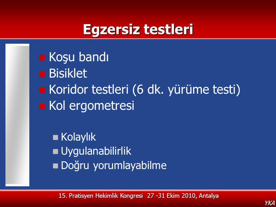 15. Pratisyen Hekimlik Kongresi 27 -31 Ekim 2010, Antalya YKA Egzersiz testleri  Koşu bandı  Bisiklet  Koridor testleri (6 dk. yürüme testi)  Kol