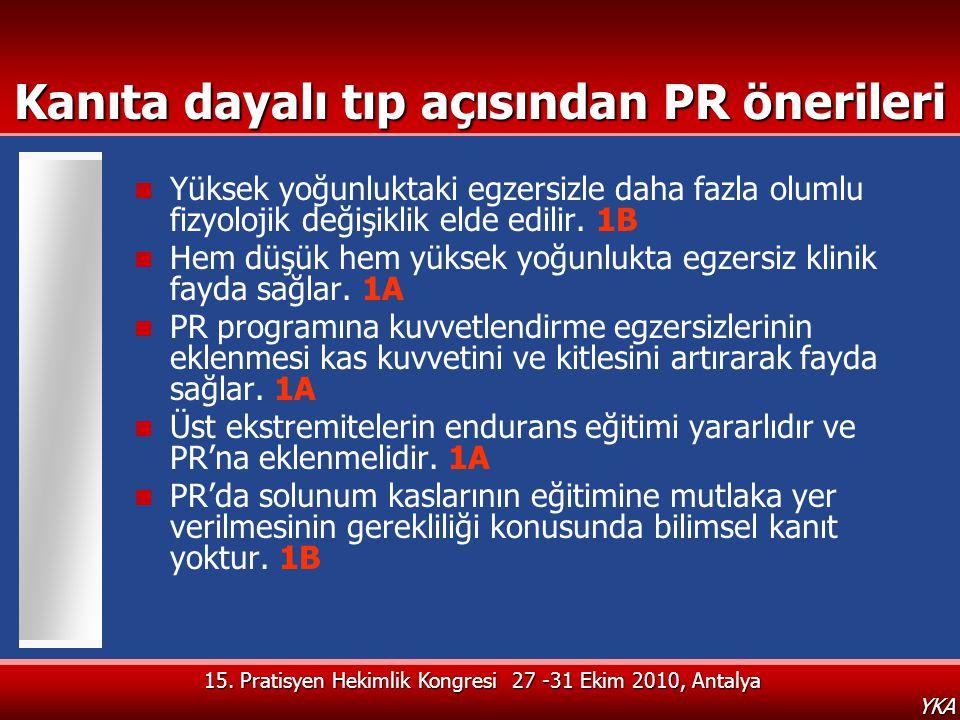 15. Pratisyen Hekimlik Kongresi 27 -31 Ekim 2010, Antalya YKA Kanıta dayalı tıp açısından PR önerileri  Yüksek yoğunluktaki egzersizle daha fazla olu