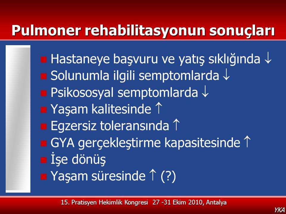 YKA Pulmoner rehabilitasyonun sonuçları  Hastaneye başvuru ve yatış sıklığında   Solunumla ilgili semptomlarda   Psikososyal semptomlarda   Yaş