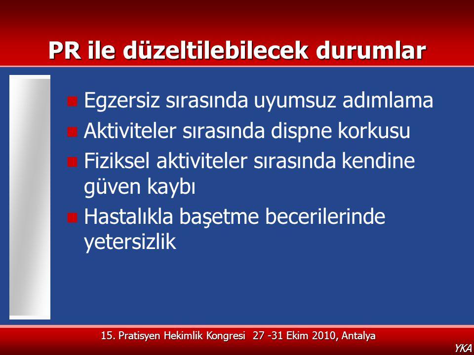 15. Pratisyen Hekimlik Kongresi 27 -31 Ekim 2010, Antalya YKA PR ile düzeltilebilecek durumlar  Egzersiz sırasında uyumsuz adımlama  Aktiviteler sır