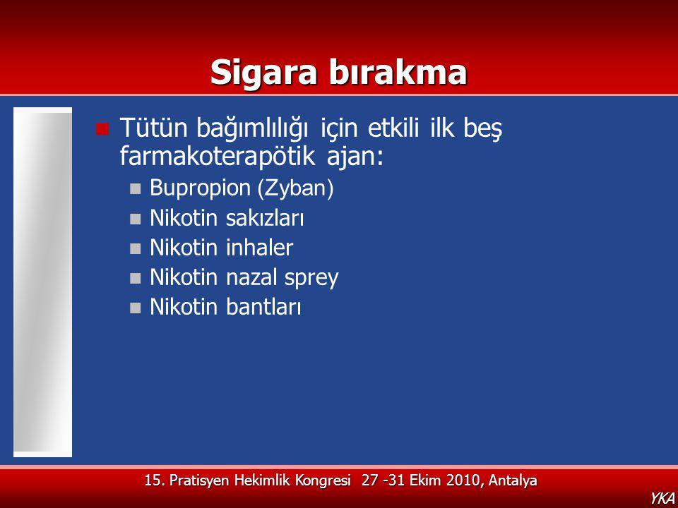 YKA Sigara bırakma  Tütün bağımlılığı için etkili ilk beş farmakoterapötik ajan:  Bupropion (Zyban)  Nikotin sakızları  Nikotin inhaler  Nikotin