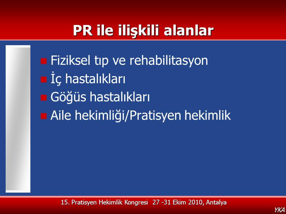 15. Pratisyen Hekimlik Kongresi 27 -31 Ekim 2010, Antalya YKA PR ile ilişkili alanlar  Fiziksel tıp ve rehabilitasyon  İç hastalıkları  Göğüs hasta