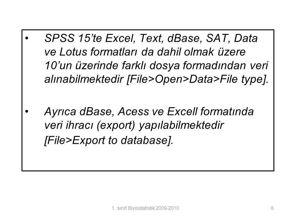 •SPSS 15'te Excel, Text, dBase, SAT, Data ve Lotus formatları da dahil olmak üzere 10'un üzerinde farklı dosya formadından veri alınabilmektedir [File