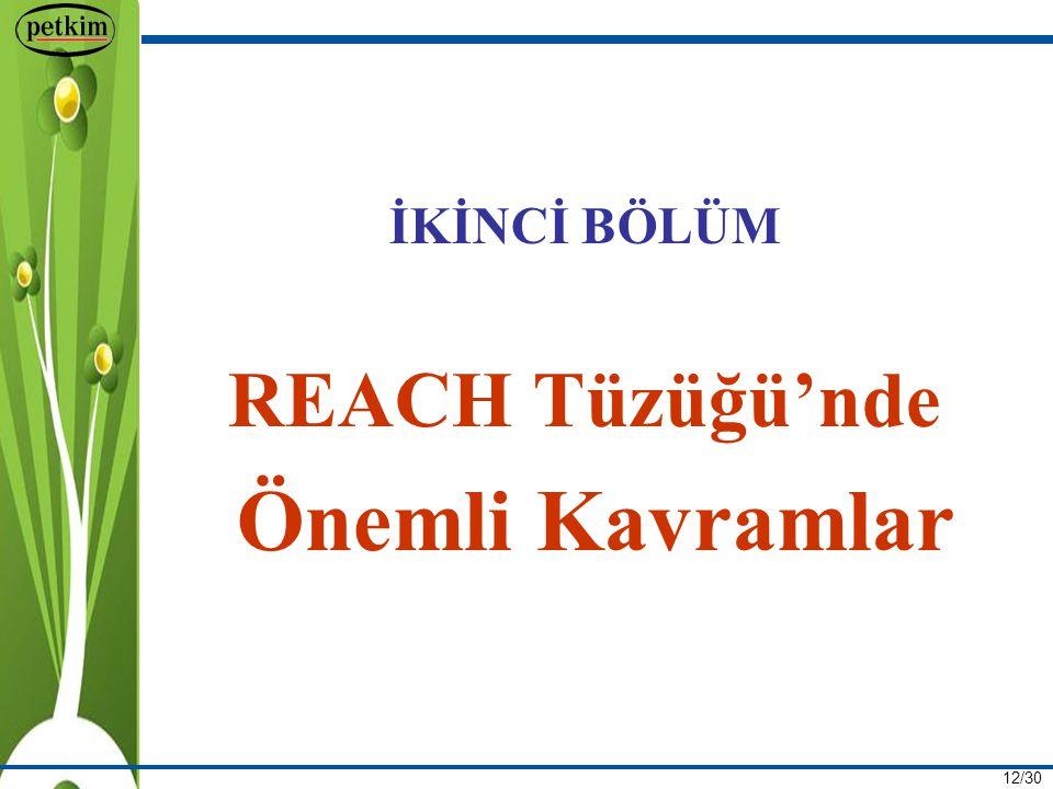 12/30 İKİNCİ BÖLÜM REACH Tüzüğü'nde Önemli Kavramlar