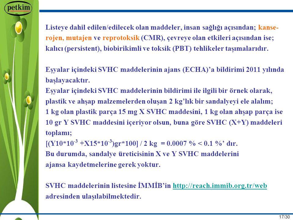 17/30 Listeye dahil edilen/edilecek olan maddeler, insan sağlığı açısından; kanse- rojen, mutajen ve reprotoksik (CMR), çevreye olan etkileri açısından ise; kalıcı (persistent), biobirikimli ve toksik (PBT) tehlikeler taşımalarıdır.