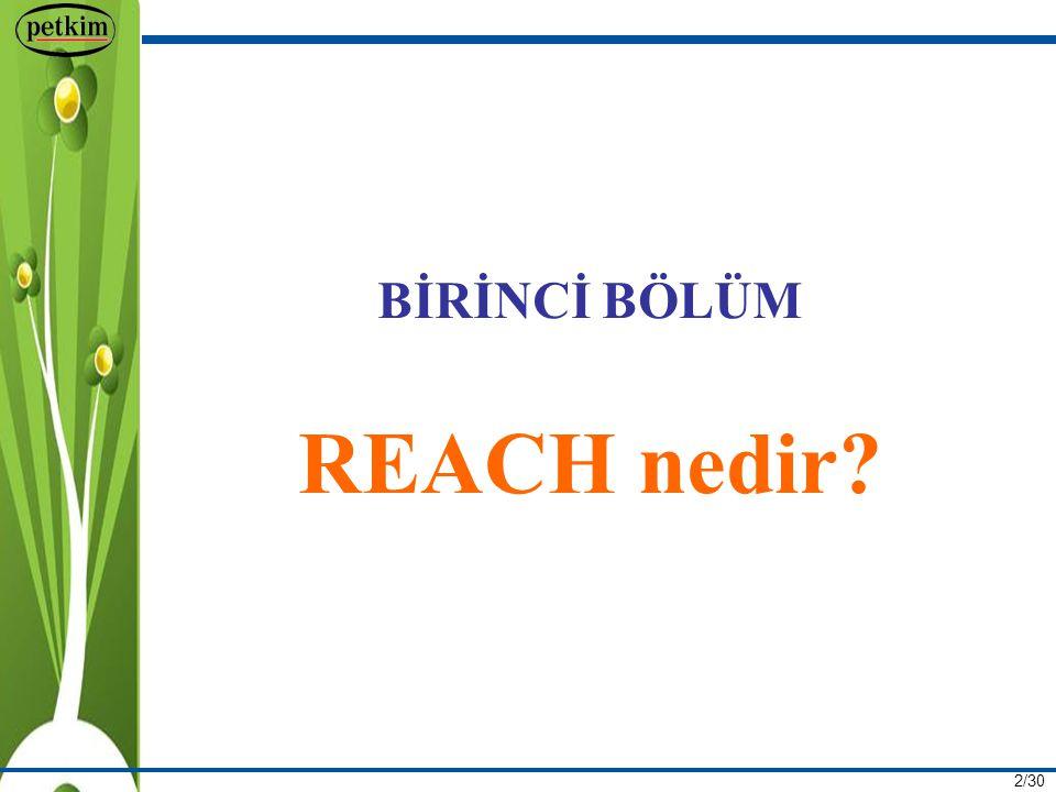3/30 Yasal Dayanak 1 Haziran 2007 tarihinde yürürlüğe giren REACH Avrupa Birliği sözleşmesinin 95.