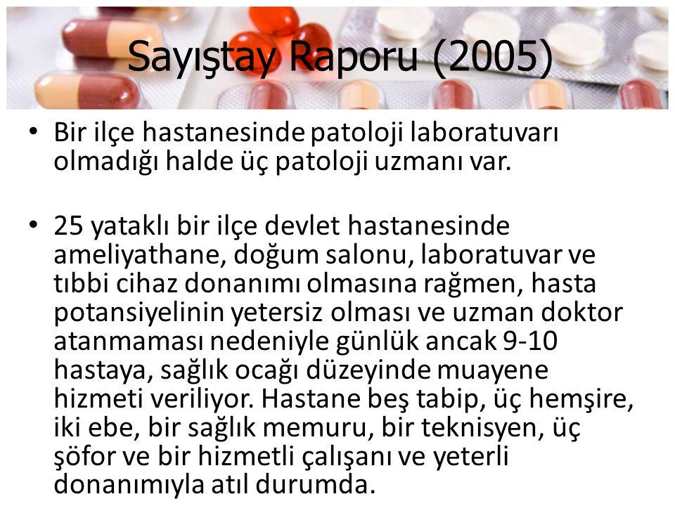 Sayıştay Raporu (2005) • Bir ilçe hastanesinde patoloji laboratuvarı olmadığı halde üç patoloji uzmanı var. • 25 yataklı bir ilçe devlet hastanesinde