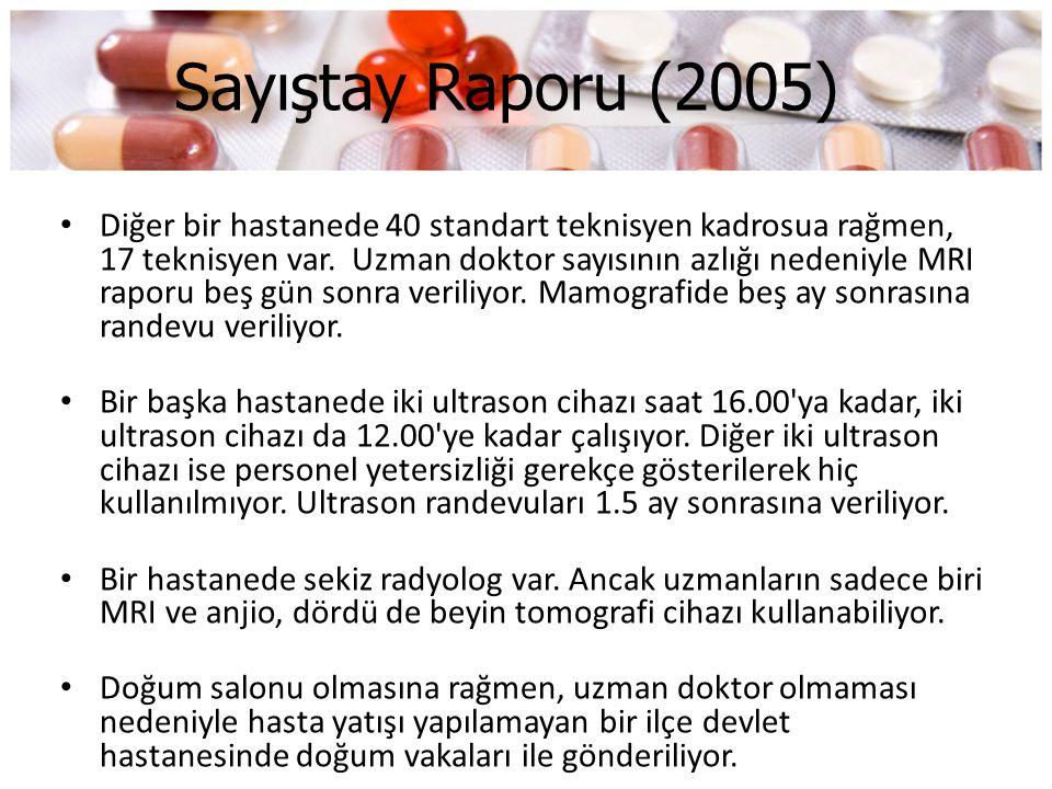 Sayıştay Raporu (2005) • Diğer bir hastanede 40 standart teknisyen kadrosua rağmen, 17 teknisyen var. Uzman doktor sayısının azlığı nedeniyle MRI rapo