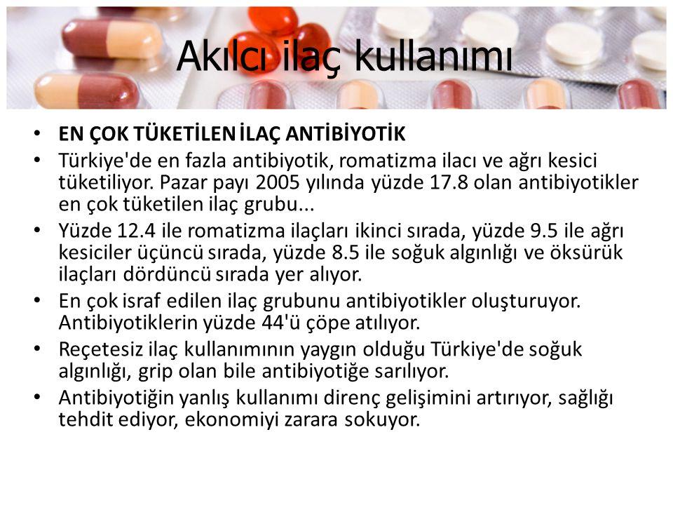 Akılcı ilaç kullanımı • EN ÇOK TÜKETİLEN İLAÇ ANTİBİYOTİK • Türkiye'de en fazla antibiyotik, romatizma ilacı ve ağrı kesici tüketiliyor. Pazar payı 20