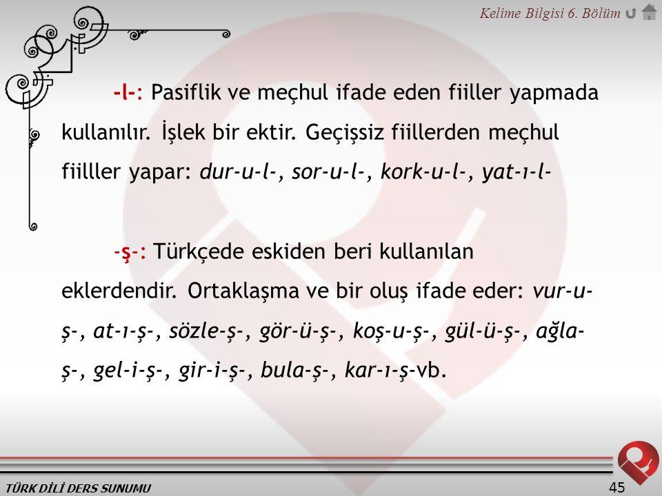 TÜRK DİLİ DERS SUNUMU Kelime Bilgisi 6.