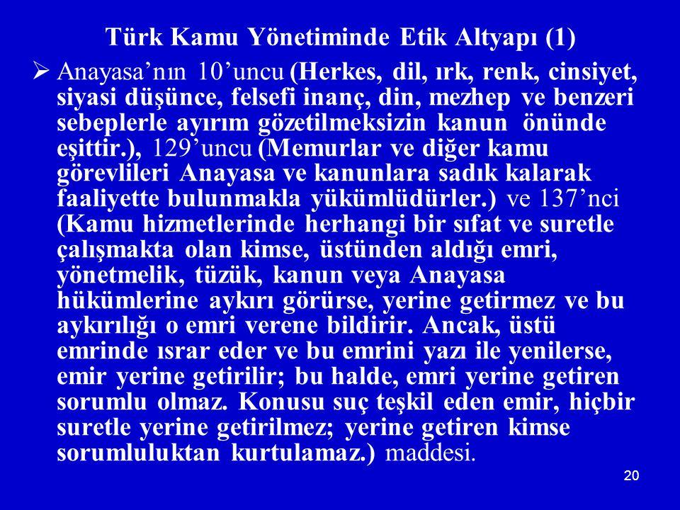 20 Türk Kamu Yönetiminde Etik Altyapı (1)  Anayasa'nın 10'uncu (Herkes, dil, ırk, renk, cinsiyet, siyasi düşünce, felsefi inanç, din, mezhep ve benze