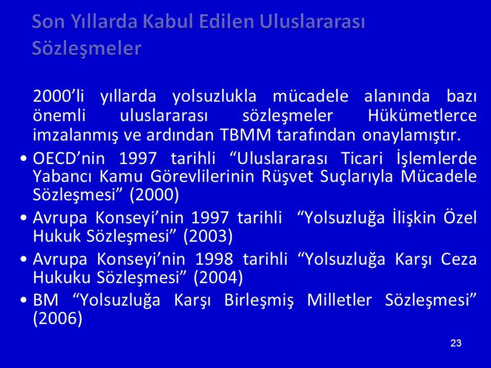 23 2000'li yıllarda yolsuzlukla mücadele alanında bazı önemli uluslararası sözleşmeler Hükümetlerce imzalanmış ve ardından TBMM tarafından onaylamıştır.