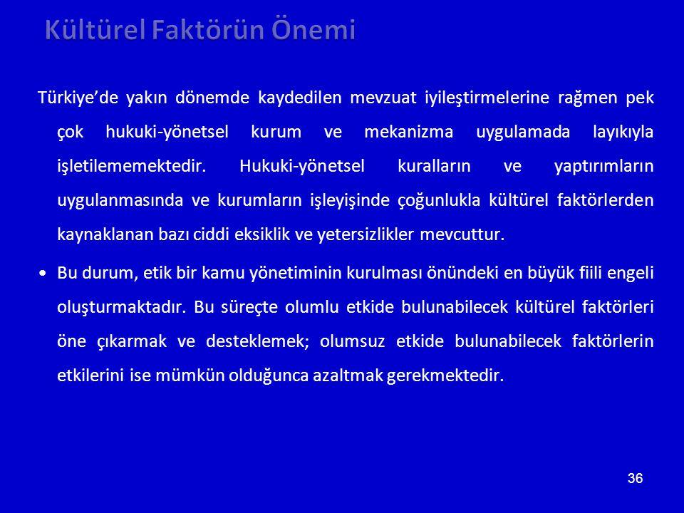 36 Türkiye'de yakın dönemde kaydedilen mevzuat iyileştirmelerine rağmen pek çok hukuki-yönetsel kurum ve mekanizma uygulamada layıkıyla işletilememektedir.