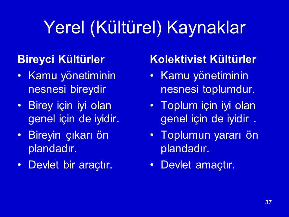 37 Yerel (Kültürel) Kaynaklar Bireyci Kültürler •Kamu yönetiminin nesnesi bireydir •Birey için iyi olan genel için de iyidir.
