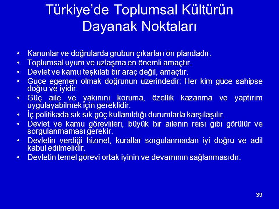 39 Türkiye'de Toplumsal Kültürün Dayanak Noktaları •Kanunlar ve doğrularda grubun çıkarları ön plandadır. •Toplumsal uyum ve uzlaşma en önemli amaçtır