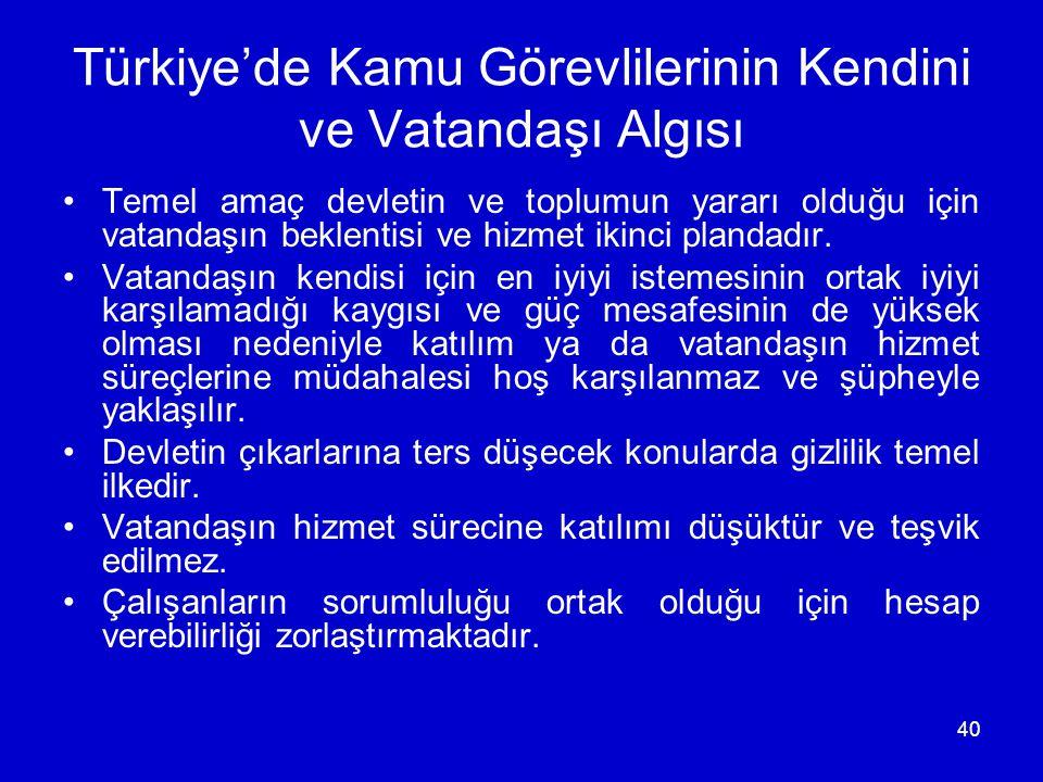40 Türkiye'de Kamu Görevlilerinin Kendini ve Vatandaşı Algısı •Temel amaç devletin ve toplumun yararı olduğu için vatandaşın beklentisi ve hizmet ikinci plandadır.