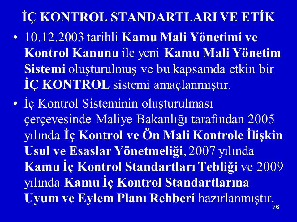 76 İÇ KONTROL STANDARTLARI VE ETİK •10.12.2003 tarihli Kamu Mali Yönetimi ve Kontrol Kanunu ile yeni Kamu Mali Yönetim Sistemi oluşturulmuş ve bu kapsamda etkin bir İÇ KONTROL sistemi amaçlanmıştır.