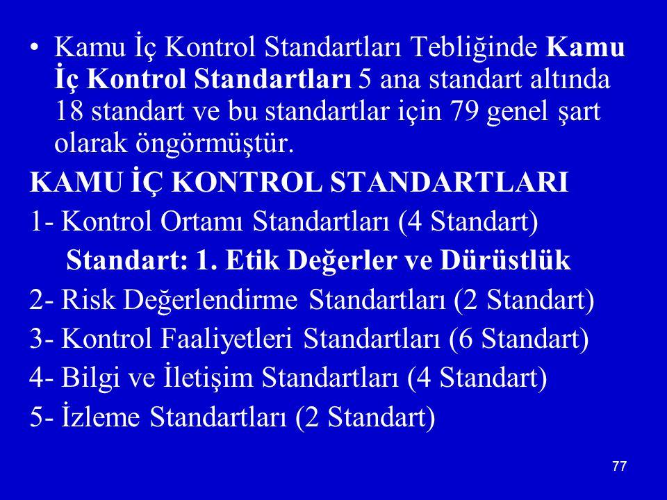 77 •Kamu İç Kontrol Standartları Tebliğinde Kamu İç Kontrol Standartları 5 ana standart altında 18 standart ve bu standartlar için 79 genel şart olarak öngörmüştür.