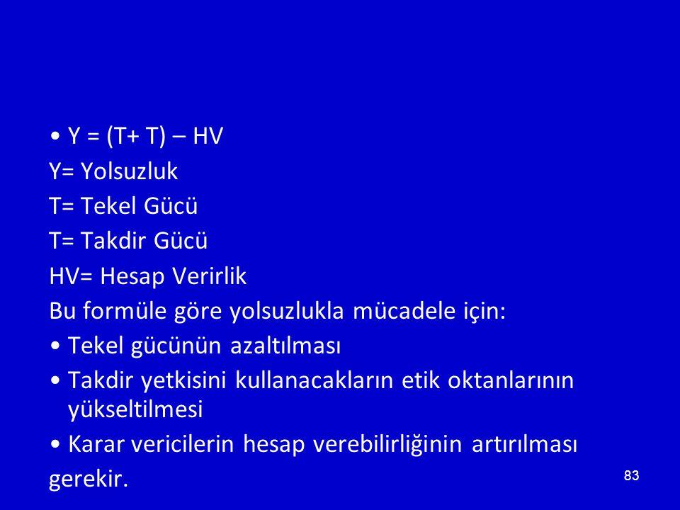 83 •Y = (T+ T) – HV Y= Yolsuzluk T= Tekel Gücü T= Takdir Gücü HV= Hesap Verirlik Bu formüle göre yolsuzlukla mücadele için: •Tekel gücünün azaltılması •Takdir yetkisini kullanacakların etik oktanlarının yükseltilmesi •Karar vericilerin hesap verebilirliğinin artırılması gerekir.
