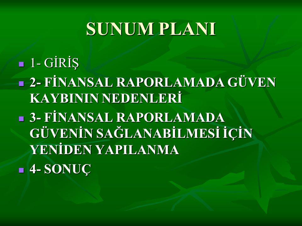 SUNUM PLANI  1- GİRİŞ  2- FİNANSAL RAPORLAMADA GÜVEN KAYBININ NEDENLERİ  3- FİNANSAL RAPORLAMADA GÜVENİN SAĞLANABİLMESİ İÇİN YENİDEN YAPILANMA  4-