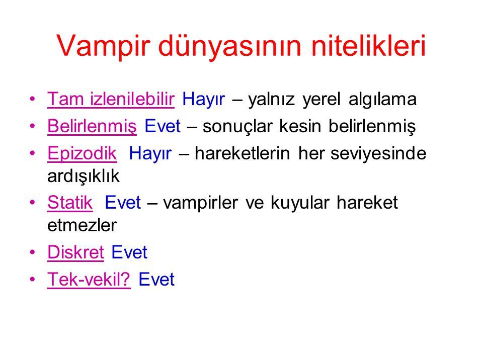 Vampir dünyasının nitelikleri •Tam izlenilebilir Hayır – yalnız yerel algılama •Belirlenmiş Evet – sonuçlar kesin belirlenmiş •Epizodik Hayır – hareke