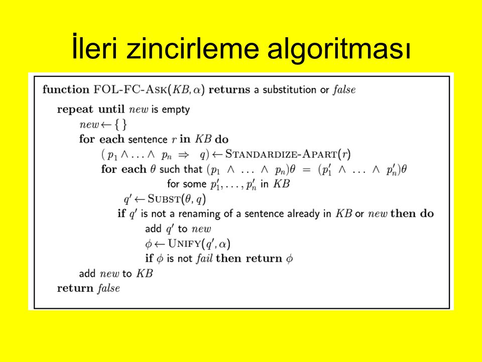 İleri zincirleme algoritması