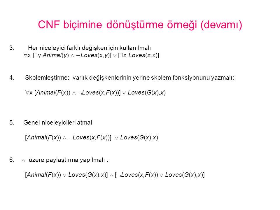 CNF biçimine dönüştürme örneği (devamı) 3.Her niceleyici farklı değişken için kullanılmalı  x [  y Animal(y)   Loves(x,y)]  [  z Loves(z,x)] 4.