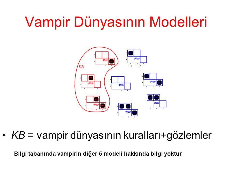 Vampir Dünyasının Modelleri •KB = vampir dünyasının kuralları+gözlemler Bilgi tabanında vampirin diğer 5 modeli hakkında bilgi yoktur 1,1 2,1