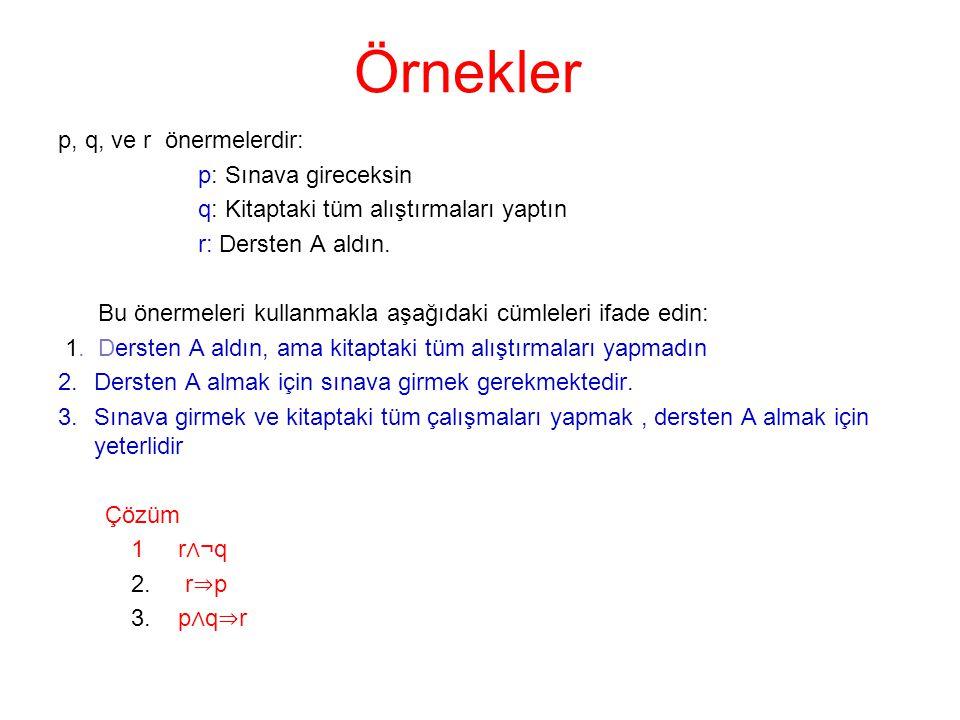 Örnekler p, q, ve r önermelerdir: p: Sınava gireceksin q: Kitaptaki tüm alıştırmaları yaptın r: Dersten A aldın. Bu önermeleri kullanmakla aşağıdaki c