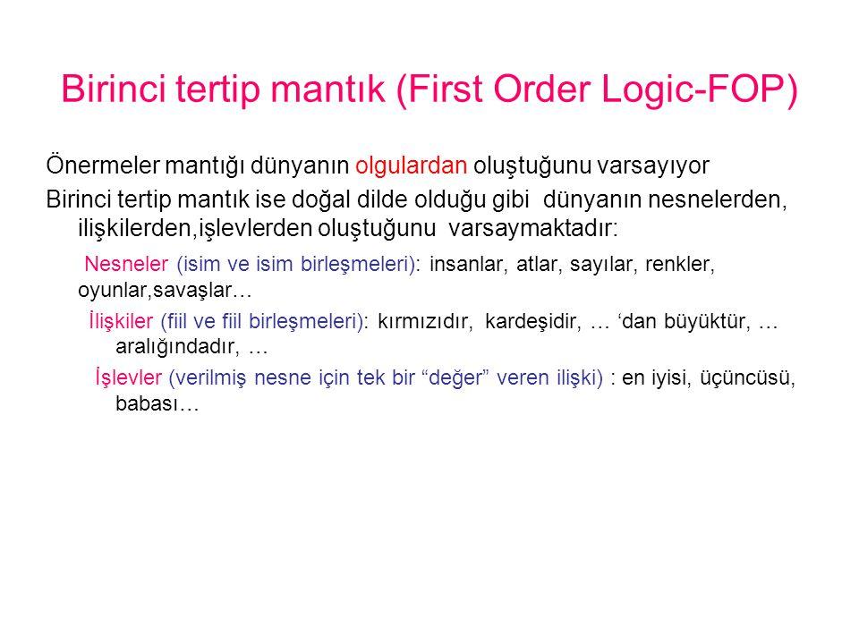 Birinci tertip mantık (First Order Logic-FOP) Önermeler mantığı dünyanın olgulardan oluştuğunu varsayıyor Birinci tertip mantık ise doğal dilde olduğu