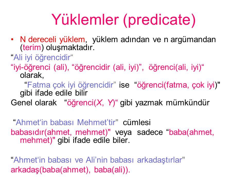 """Yüklemler (predicate) •N dereceli yüklem, yüklem adından ve n argümandan (terim) oluşmaktadır. """"Ali iyi öğrencidir"""" """"iyi-öğrenci (ali), """"öğrencidir (a"""