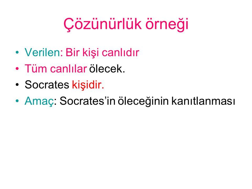 Çözünürlük örneği •Verilen: Bir kişi canlıdır •Tüm canlılar ölecek. •Socrates kişidir. •Amaç: Socrates'in öleceğinin kanıtlanması