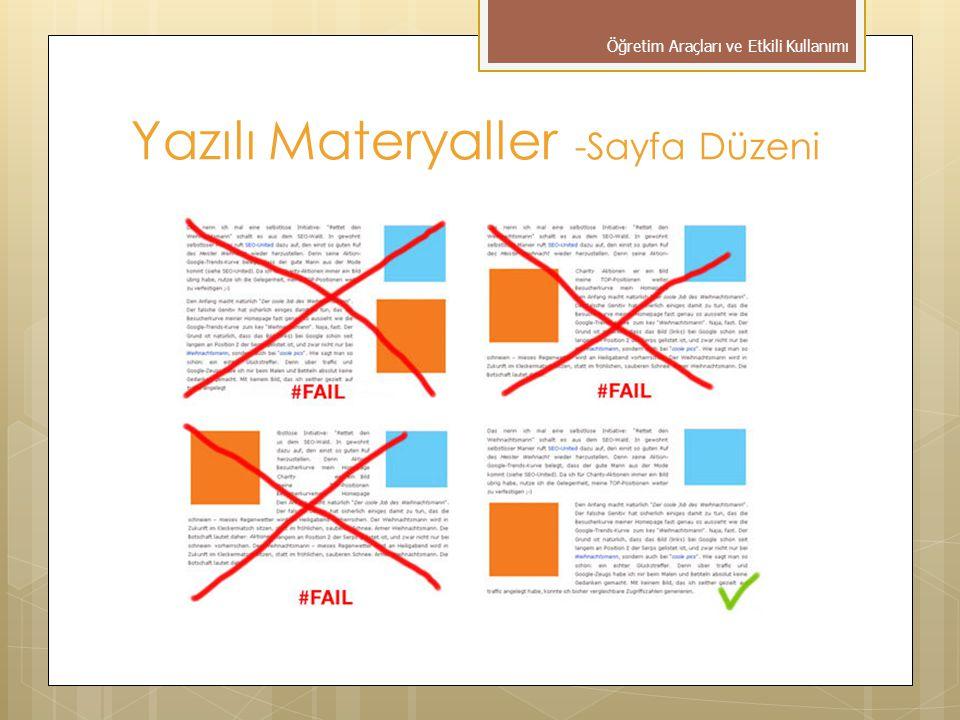 Yazılı Materyaller -Sayfa Düzeni Öğretim Araçları ve Etkili Kullanımı